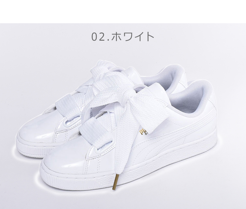 best loved f05aa 01745 I wear it in PUMA Puma sneakers basket heart patent women BASKET HEART  PATENT Wn' s 363073 01 02 Lady's shoes shoes black white low-frequency cut  ...