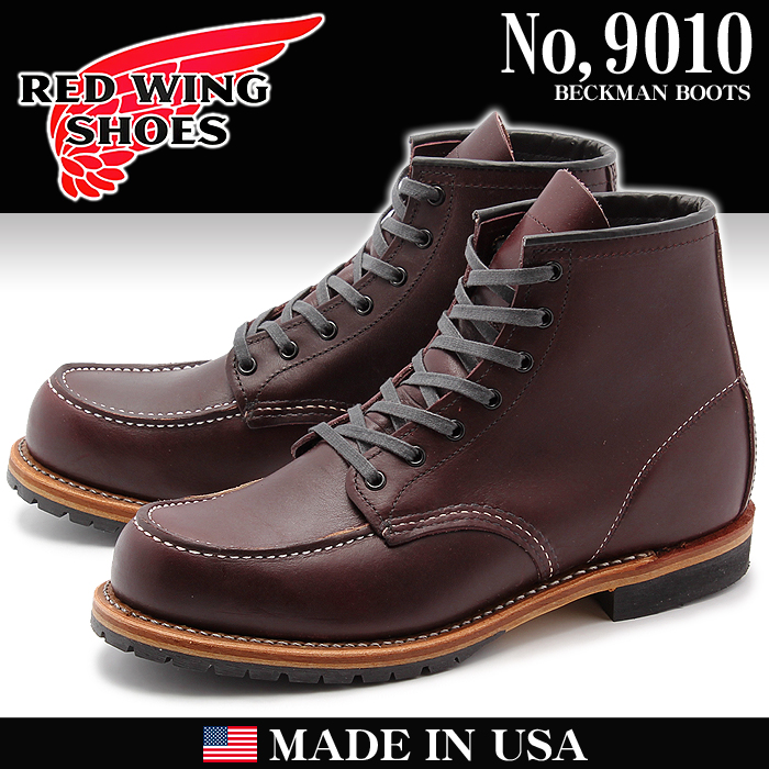 紅翅膀RED WING Beckman Instruments 9010嘲笑二長筒靴黑櫻桃紅·翅膀MADE IN USA(REDWING 9010 MOC TOE BECKMAN BOOTS)男子的(男性用)長筒靴工作長筒靴