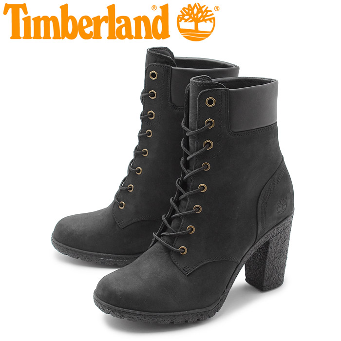 送料無料 ティンバーランド TIMBERLAND アースキーパーズ グランシー シックスインチ ヒール ブーツ ブラック (EARTHKEEPERS GLANCY 6IN BLACK TB08432A) レディース レザー 本革 ヌバック ショートブーツ