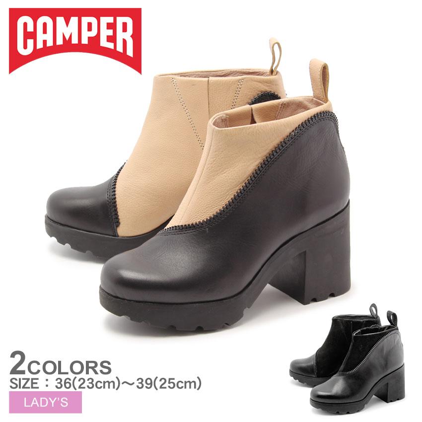 送料無料 カンペール(CAMPER) ツインズ TWINS 全2色(CAMPER 46733 002 003 TWS)レディース(女性用) ブーティー 本革 シューズ 靴 レザー ブラック ベージュ ブーツ 太ヒール