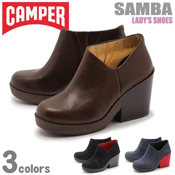 送料無料 カンペール(CAMPER) サンバ 全3色(CAMPER 46841 001 004 003 SAMBA)レディースブーティー ショートブーツ シューズ 本革 レザー 靴 太ヒール
