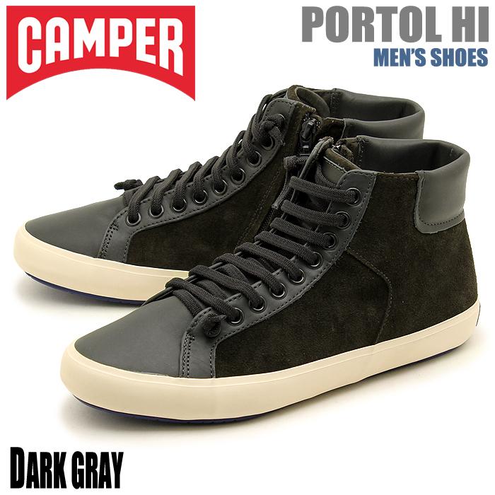 送料無料 カンペール(CAMPER) ポルトル ダークグレー(CAMPER 36654 016 PORTOL)メンズ(男性用) ハイカット スニーカー 靴 シューズ カジュアル 天然皮革 レザー
