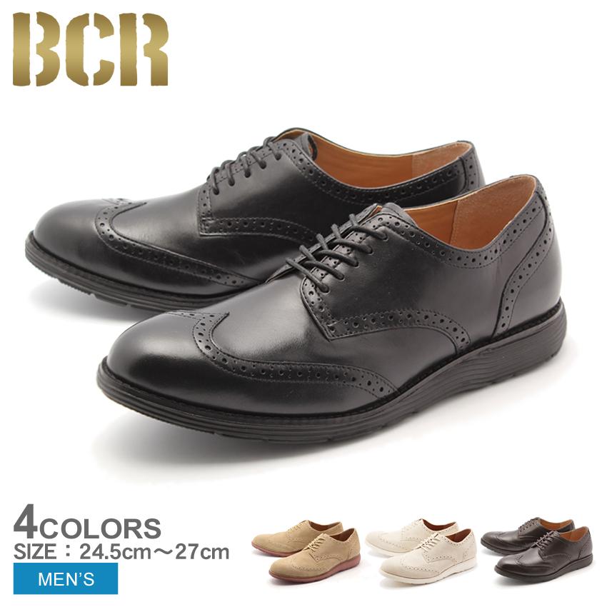 送料無料 ウィングチップ 本革 レザー シューズ ビーシーアール BCR 全3色 (BCR BC817)靴 メンズ(男性用)