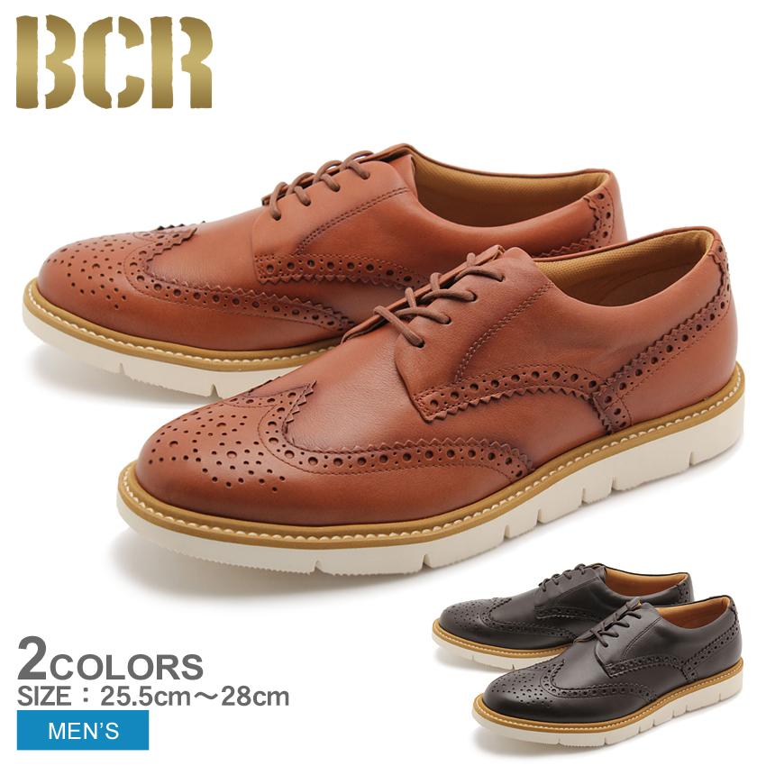 送料無料 ウィングチップ 本革 レザー シューズ ビーシーアール BCR 全2色 (BCR BC822)靴 メンズ(男性用)