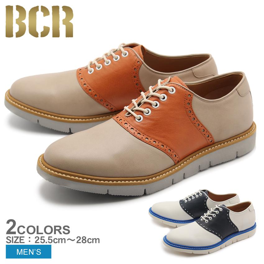 送料無料 サドルシューズ 本革 レザー シューズ ビーシーアール BCR 全2色 (BCR BC823)靴 メンズ(男性用)