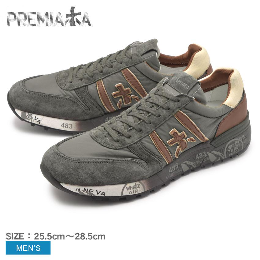 送料無料 PREMIATA プレミアータ スニーカー グレー ランダー3243 LANDER3243 VAR3243 メンズ 靴 シューズ カジュアル ローカット 本革 レザー ブランド おしゃれ レトロ クラシック