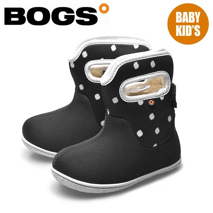 送料無料 ボグス BOGS ベイビー ブーツ ドット ブラック×マルチBABY BOOTS DOT 78462S 009ファー ボア ショートブーツ 防水 防滑 保温 水玉 黒 キッズ&ジュニア(子供用) スノーブーツ