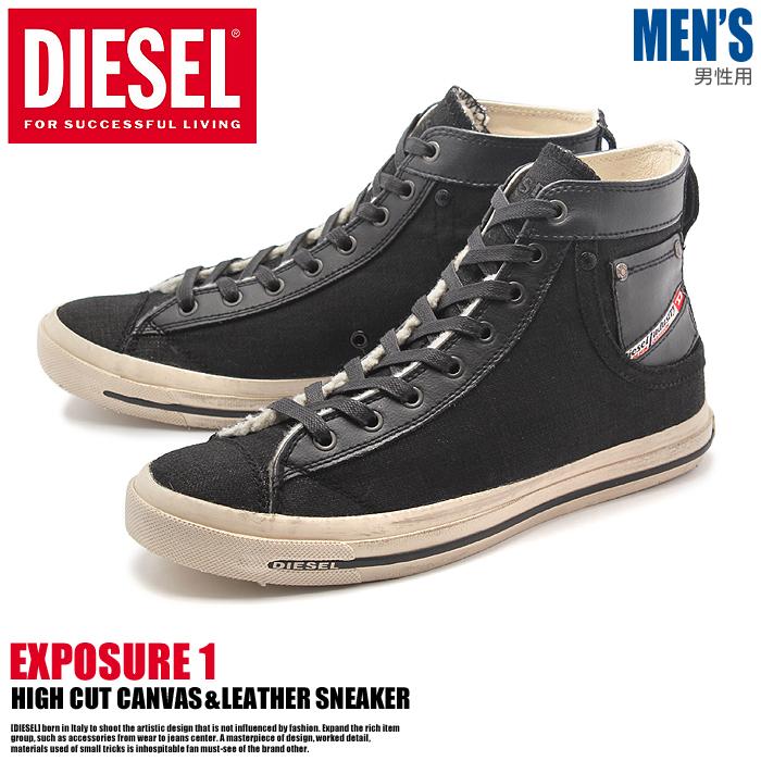 送料無料 ディーゼル エクスポージャー ハイ ワン ブラック(DIESEL EXPOSURE HI 1 Y00023-P0734 T8013)キャンバス カジュアル スニーカー シューズ 靴メンズ 男性