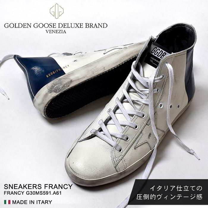 送料無料 ゴールデングース GOLDEN GOOSE スニーカーズ フランシー ブラックパームSNEAKERS FRANCY G30MS591.A61シューズ 靴 レザー イタリア ハイカット ヴィンテージ メンズ(男性用)