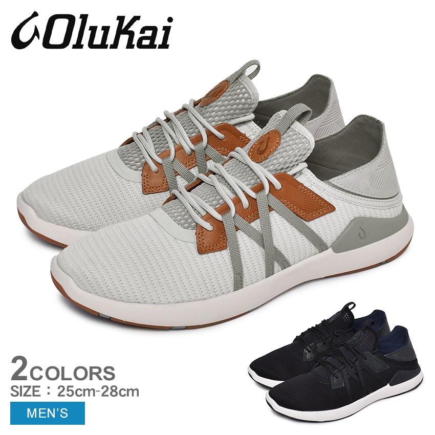 【全品対象!40%オフクーポン】OLUKAI オルカイ スニーカー MIO LI 10440 メンズ ハワイ シューズ 靴 ローカット 履きやすい 歩きやすい バブーシュ かかと 踏める 通勤 通学 学生 おしゃれ レザー 黒[sn-ktu][sale]