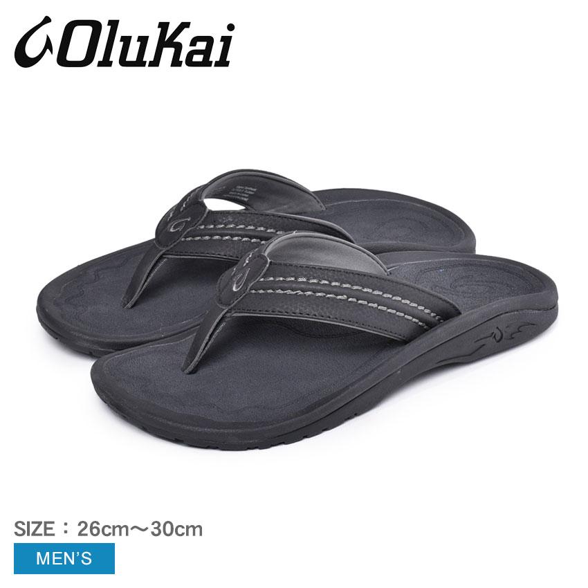 送料無料 OLUKAI オルカイ サンダル ブラック ホクア HOKUA 10161 4042 ビーチサンダル トングサンダル スリッパ ハワイ メンズ 靴 シューズ おしゃれ カジュアル シンプル 黒