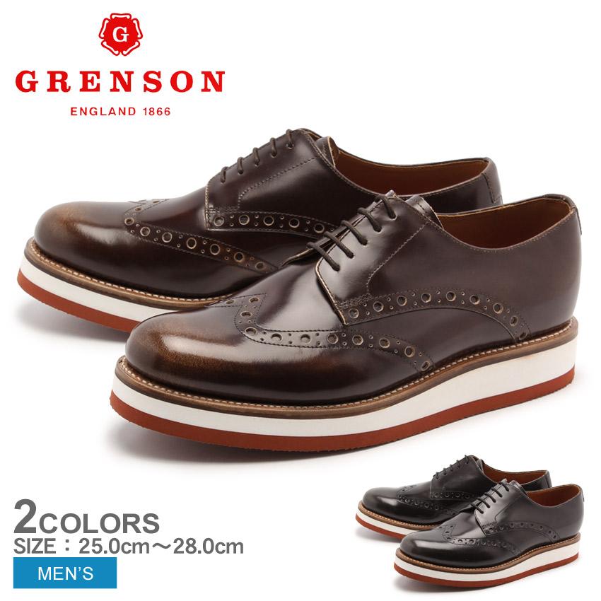 送料無料 グレンソン GRENSON ダニー ウィングチップ グレー キャラメル 全2色 GRENSON 5283-12 5283-13 DANNY メンズ(男性用) 短靴 ウイングチップ レザーシューズ