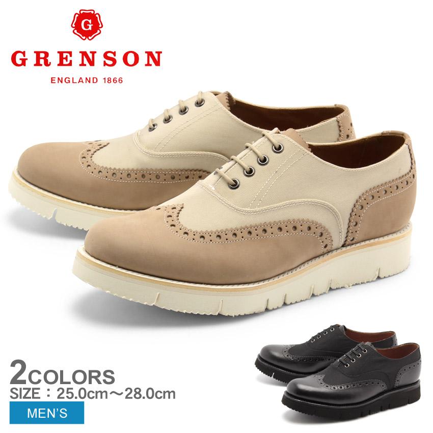 送料無料 グレンソン GRENSON マックス ウィングチップ ブラック ベージュ 全2色 GRENSON 5275-0138 5275-50634 MAX メンズ(男性用) 短靴 ウイングチップ レザーシューズ