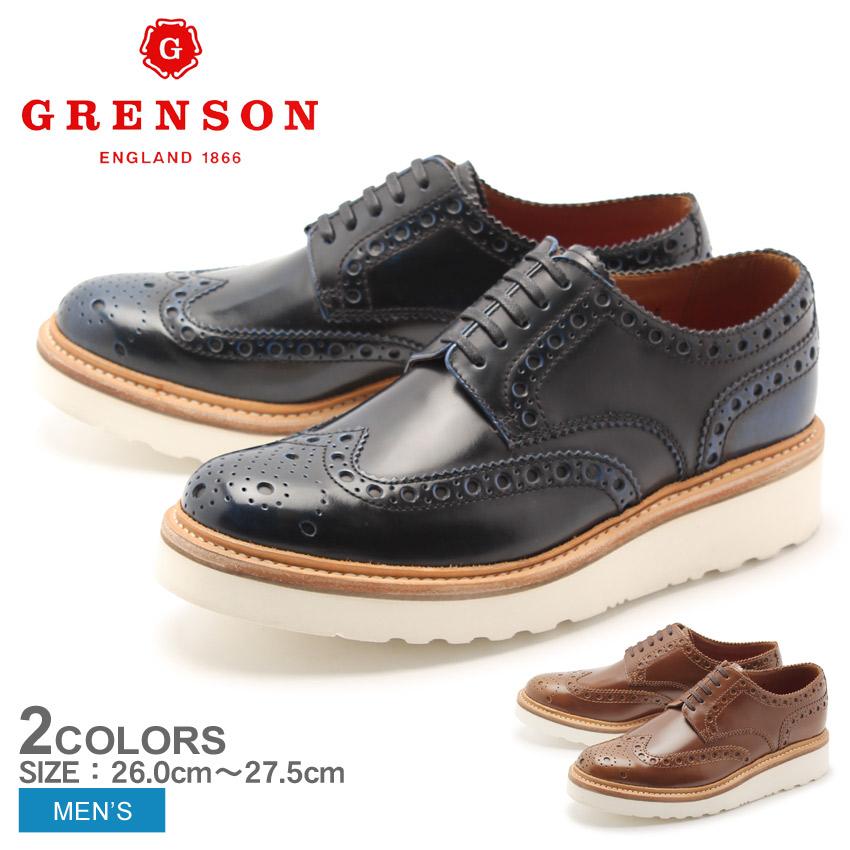 送料無料 グレンソン GRENSON アーチー ウィングチップ ネイビー タン 全2色 5067-120V 5067-284V ARCHIE V メンズ(男性用) 天然皮革 本革 レザー 短靴 ウイングチップ レザーシューズ