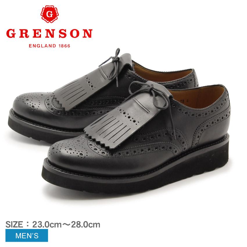 送料無料 グレンソン GRENSON スタンレー キルティタン ウイングチップ ブラック GRENSON 5033-01VB STANLEY BLACK メンズ(男性用) 天然皮革 本革 レザー 短靴 内羽根