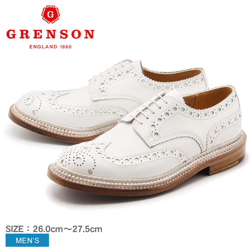 送料無料 グレンソン GRENSON アーチー トリプルウェルト ウィングチップ ホワイト GRENSON 5067G-4205 ARCHIE TRIPLE WELT メンズ(男性用) 本革 短靴 ウイングチップ レザーシューズ