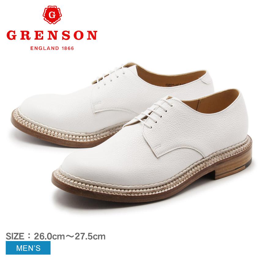 送料無料 グレンソン GRENSON カート トリプルウェルト プレーントゥ ホワイト GRENSON 5199G-4205 CURT TRIPLE WELT メンズ(男性用) 本革 短靴 外羽根 レザーシューズ