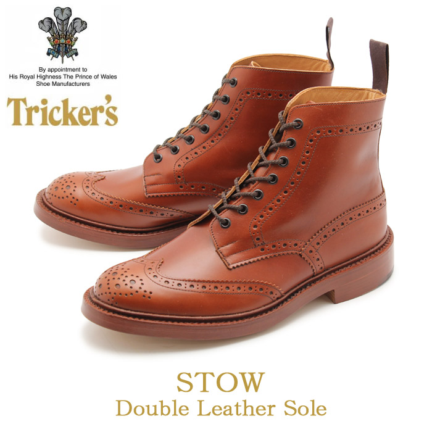送料無料 トリッカーズ(TRICKER'S)(TRICKERS) ストウ ダブルレザーソール マロンアンティーク(TRICKER'S 5634 1 BROGUE BOOTS STOW) カントリー ブーツ メンズ(男性用)