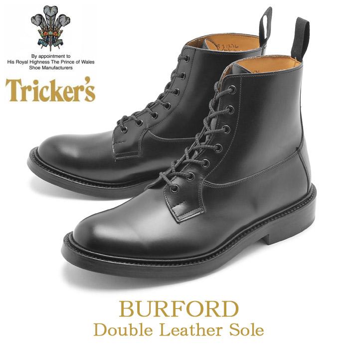 送料無料 トリッカーズ(TRICKER'S)(TRICKERS) バーフォード ダブルレザーソール ブラックカーフ(TRICKER'S 5635 2 COUNTRY BURFORD) カントリー レザーブーツ 黒色 牛革 革靴 ワークブーツ メンズ(男性用)