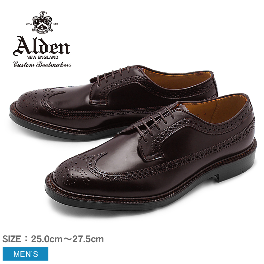 【全品500円引きクーポン】 ALDEN オールデン シューズ ブラウン ロング ウィング ブルチャー オックスフォード LONG WING BLUCHER OXFORD 975 8 メンズ ウィングチップ トラディショナル ビジネス フォーマル コードバン 茶色 革靴 紳士靴