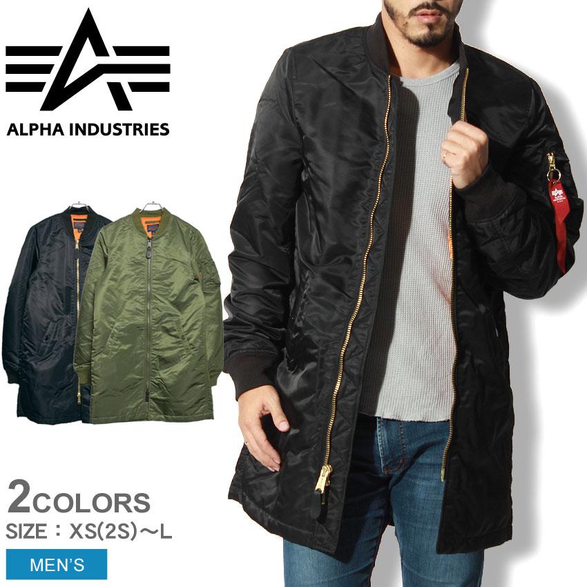 送料無料 ALPHA INDUSTRIES アルファ インダストリーズ ジャケット MA-1 ロング ブラック 他全2色MJM47503C1 MA-1 LONGジャンバー ミリタリー ロングコート 黒 メンズ