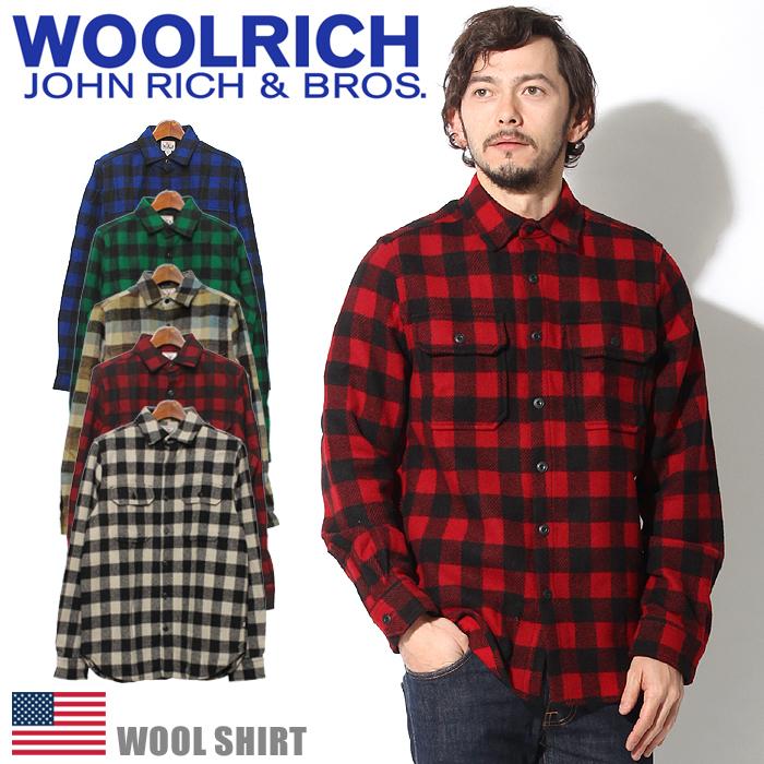 送料無料 ウールリッチ WOOLRICH トップス ウール シャツ ホワイト 他全5色WOOL SHIRT 6157長袖シャツ チェック フランネル 防寒 メンズ(男性用)