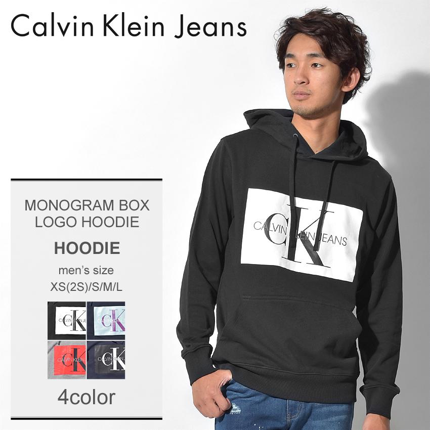 送料無料 CALVIN KLEIN JEANS カルバンクラインジーンズ パーカー 全2色モノグラム ボックスロゴ フーディ カジュアルウェア ネイビー ブラック トレーナー トップスJ30J307745 099 402 メンズ