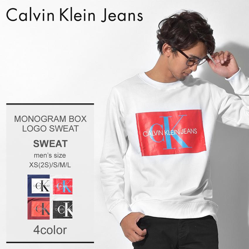 送料無料 CALVIN KLEIN JEANS カルバンクラインジーンズ スウェットモノグラム ボックスロゴ スウェットJ30J307746 406 112 295 メンズ