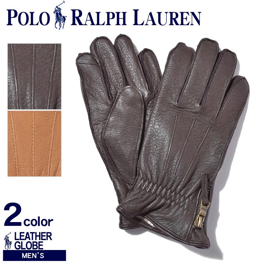 送料無料 POLO RALPH LAUREN ポロ ラルフローレン 手袋ディアスキン サイドジップ グローブPG0048 209 215 メンズ