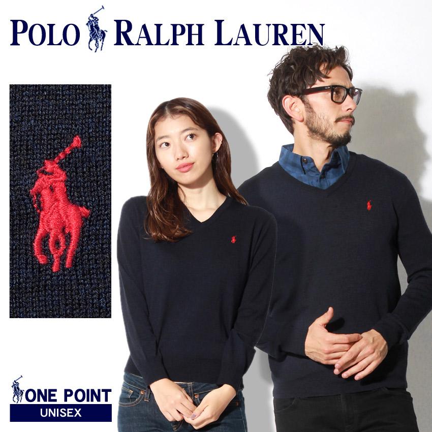 送料無料 POLO RALPH LAUREN ポロ ラルフローレン セーター ネイビーワンポイント Vネックセーター323-702303 002 メンズ レディース