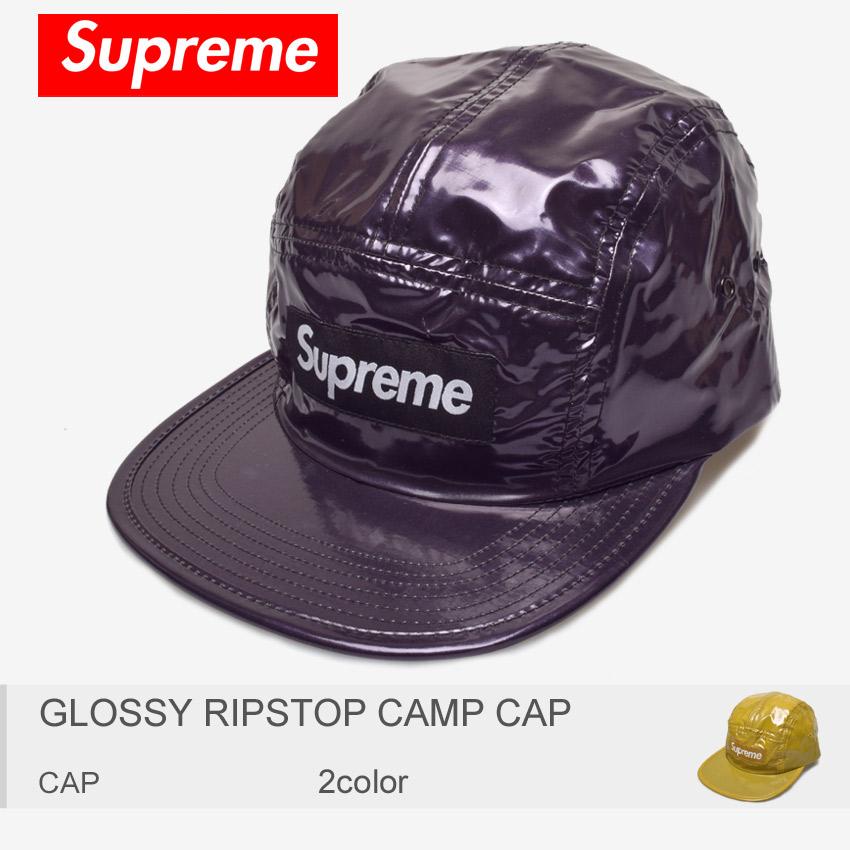 【メール便可】送料無料 SUPREME シュプリーム キャップ グロッシー リップストップ キャンプ キャップ GLOSSY RIPSTOP CAMP CAP FW16H49 メンズ レディース ブランド 5パネル 艶 防水 撥水 帽子 黒 黄