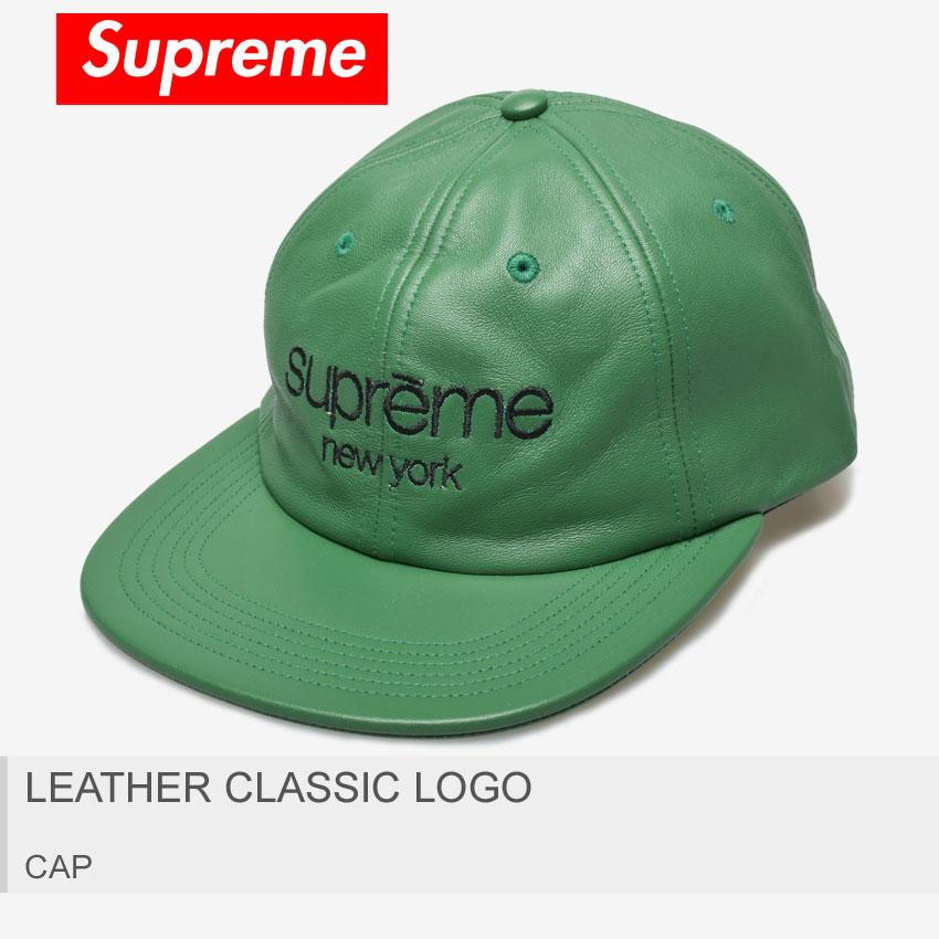 【メール便可】 送料無料 SUPREME シュプリーム キャップ グリーン レザー クラシック ロゴ LEATHER CLASSIC LOGO FW16H63 メンズ レディース 6パネル ストリート シンプル ロゴ ブランド 刺繍 帽子 定番 緑