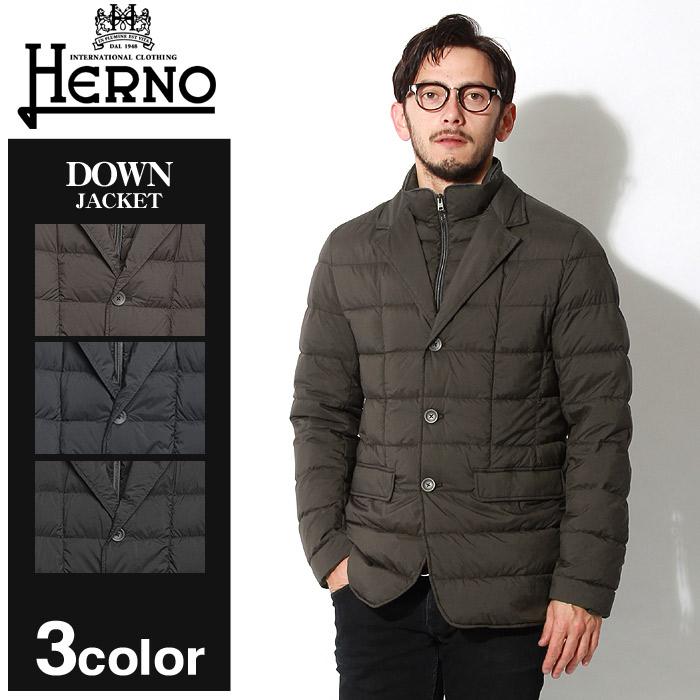 送料無料 HERNO ヘルノ ジャケット ダウン ジャケット エスプレッソ 他全3色DOWN JACKET PI0403U-19288 8993 9200 9300アウター トップス ジップアップ ボタン 黒メンズ