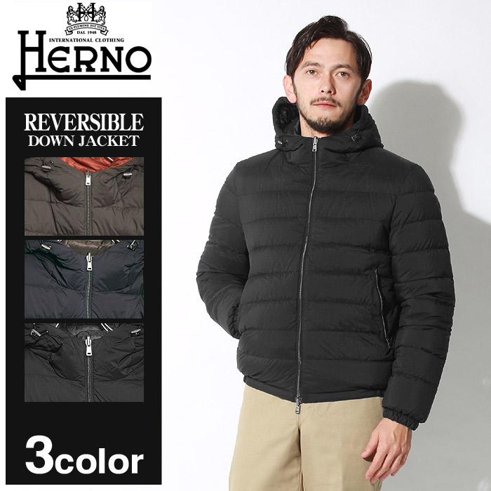 送料無料 HERNO ヘルノ ジャケット リバーシブル ダウン ジャケット ブラック 他全3色REVERSIBLE DOWN JACKET PI0382U-19288 8993 9200 9393アウター トップス ジップアップ リバーシブル 黒 赤メンズ
