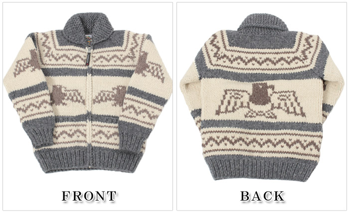 Kanata KANATA Cowichan zip up Cardigan Thunderbird pattern 5 colors (6 PLY WOOL ZIP SWEATER KV-05 BIRD KV-189) knit sweater hand-made mens (for men) and women (for women)