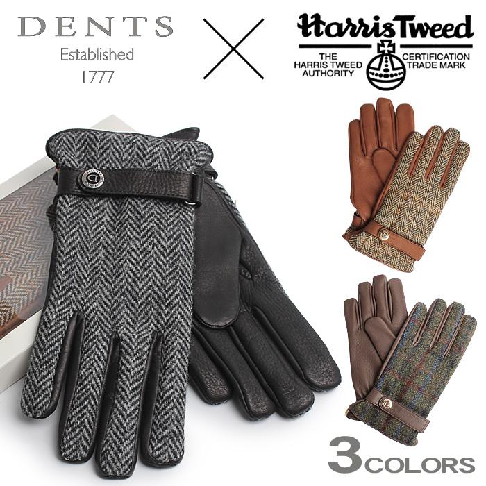 送料無料 デンツ DENTS 手袋 ハリスツイード ディアスキン(鹿革) カシミア100% ライニング 手袋 ツイード グローブ 全3色DENTS TWEED GLOVE 15-1597 メンズ(男性用) レザーグローブ 本革 裏地