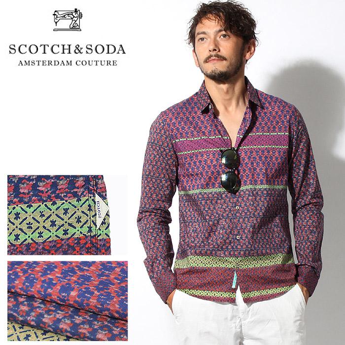 送料無料 スコッチ アンド ソーダ SCOTCH&SODA インディア インスパイア シャツ 長袖シャツ レッド(SCOTCH & SODA India Inspired Shirt 130698 16-SSMM-D20)メンズ(男性用) スコッチ カジュアル シャツ