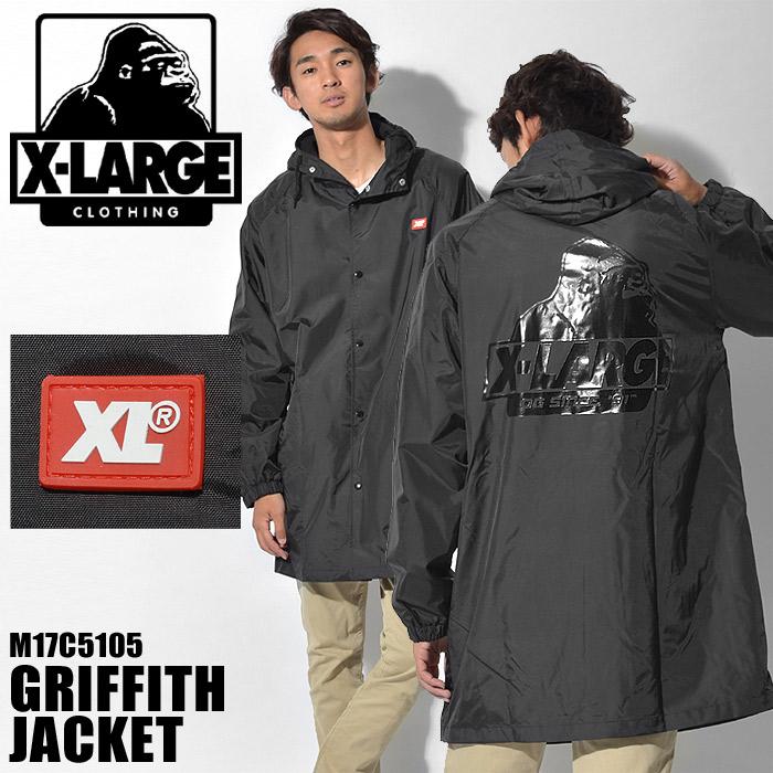送料無料 エクストララージ X-LARGE アウター グリフィス ジャケット ブラックGRIFFITH JACKET M17C5105 BLACKエックスラージ ウェア アメカジ ナイロン ブルゾン 黒メンズ