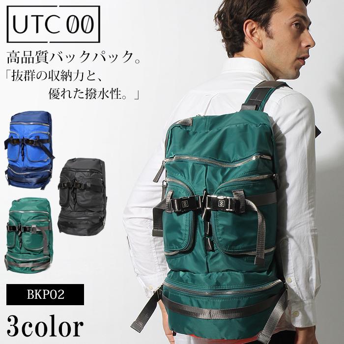 送料無料 UTC00 ユーティーシーゼロゼロ バックパック BKP02 ブラック 他全3色バッグ BAG リュック デイパック 鞄 通勤 通学 男女兼用メンズ(男性用) 兼 レディース(女性用)