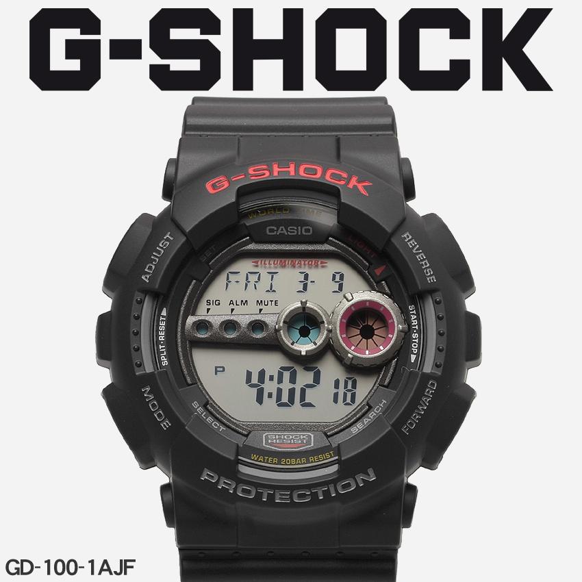 送料無料 G-SHOCK ジーショック CASIO カシオ 腕時計 ブラックGD-100GD-100-1AJF メンズ 【メーカー正規保証1年】