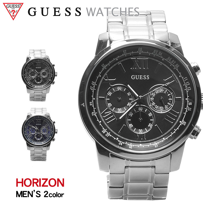 送料無料 GUESS WATCH ゲス 腕時計 ホライズン 全2色HORIZON W0379 G1 G3ウォッチ 時計 アナログ クオーツ カジュアル ギフト プレゼント メンズ ブラック ブルー 黒 青