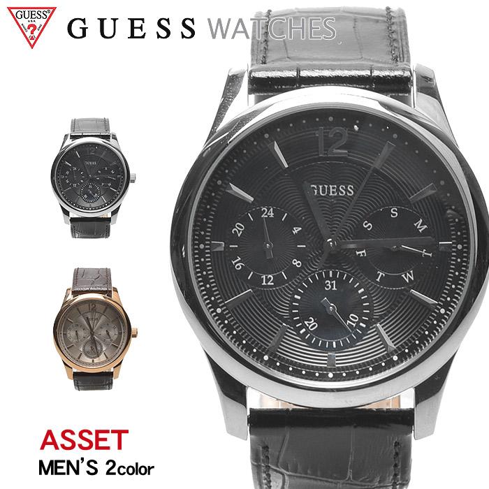 送料無料 GUESS WATCH ゲス 腕時計 アセット 全2色ASSET W0475 G1 G2ウォッチ 時計 アナログ クオーツ カジュアル ギフト プレゼント メンズ ブラック 黒