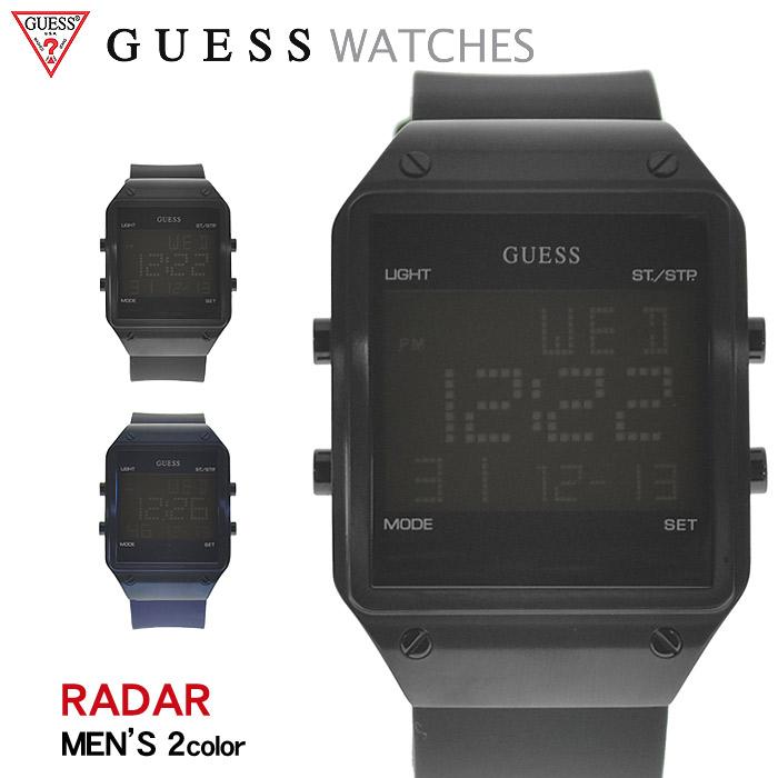 送料無料 GUESS WATCH ゲス 腕時計 レーダー 全2色RADAR W0595 G1 G2ウォッチ 時計 デジタル クオーツ カジュアル ギフト プレゼント メンズ 青 黒