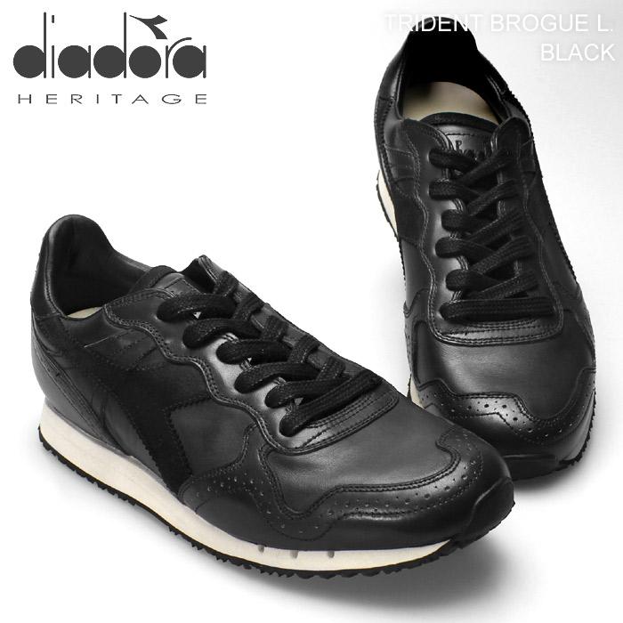 ディアドラ ヘリテージ トライデント ブローグ レザー ブラック (DIADORA HERITAGE TRIDENT BROGUE L BLACK) 黒 クラシック レトロ ランニング スニーカー シューズ 靴 メンズ 男性 誕生日プレゼント 結婚祝い ギフト おしゃれ