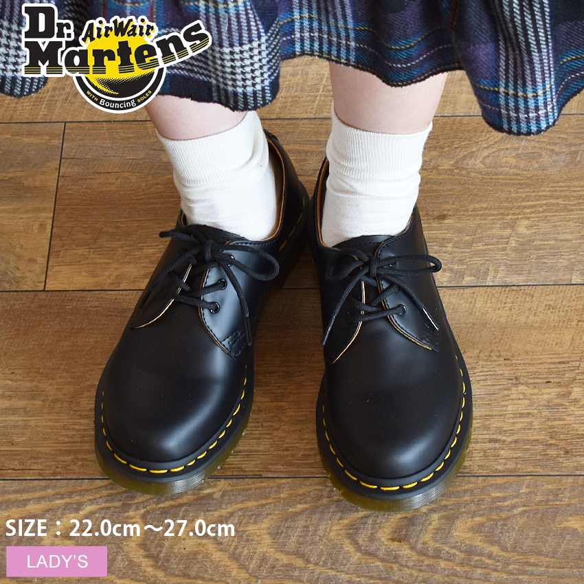 ドクターマーチン 1461W 3ホール ギブソン ブラック (Dr.Martens 1461W 3EYE GIBSON BLACK) 黒 スムース レザー ワーク シューズ 靴 レディース 女性 誕生日プレゼント 結婚祝い ギフト おしゃれ