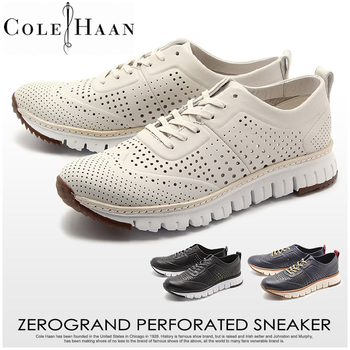 コールハーン ゼログランド パーフォレイテッド おしゃれ スニーカー (COLE HAAN ZEROGRAND PERFORATED SNEAKER) 軽量 ウィングチップ パンチング レザー カジュアル ハイテク シューズ 短靴 メンズ 男性 誕生日 結婚祝い