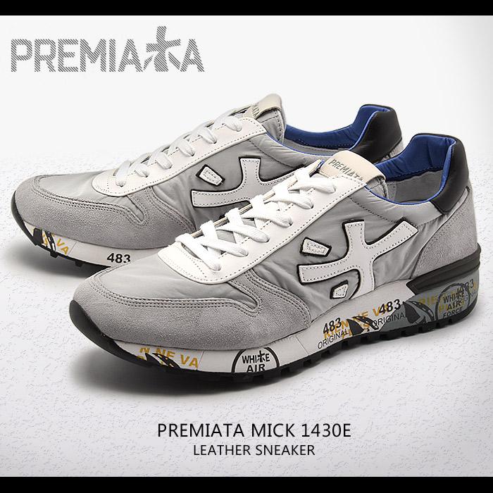 プレミアータ ミック グレー×ホワイト (PREMIATA MICK 1430E) レザー レトロ ランニング カジュアル スニーカー シューズ 靴 メンズ 男性 誕生日プレゼント 結婚祝い ギフト おしゃれ