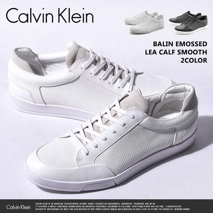 カルバン クライン Calvin Klein スニーカー BALIN EMOSSED LEA CALF SMOOTH Calvin Klein 34F1719 BLK WHT ローカット レザー カジュアル メンズ 男性 モノトーン 誕生日プレゼント 結婚祝い ギフト おしゃれ