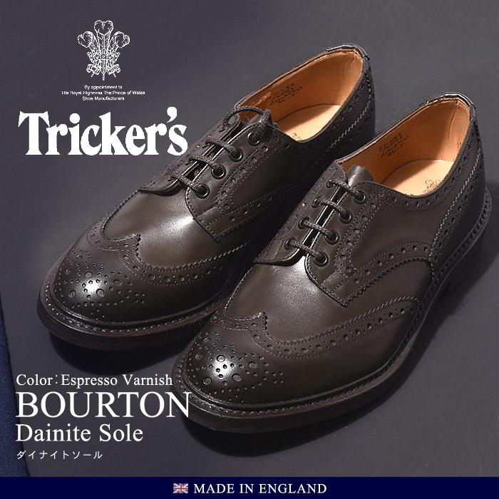 トリッカーズ カントリー バートン ダイナイトソール ダークブラウン (TRICKER'S COUNTRY BOURTON DAINITE) ウィングチップ ウイング カジュアルシューズ 革靴 短靴 メンズ 男性 誕生日プレゼント 結婚祝い ギフト おしゃれ