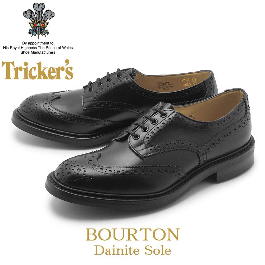 【クーポン配布中】TRICKER'S トリッカーズ カジュアルシューズ ブラック バートン BOURTN 5633/10 黒 ビジネス パーティー ウィングチップ おしゃれ 短靴 革靴 本革 メンズ 男性用